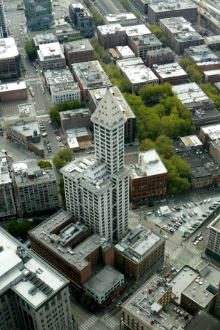 smith tower seen from sky view observatory in seattle