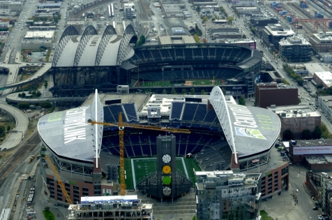 The Seattle ballparks; homes of the Mariners, Seahawks, and Sounders.